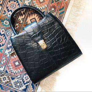 Vintage croc textured black frame crossbody purse